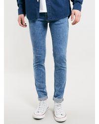 Topman Snow Wash Glaze Stretch Skinny Jeans - Lyst