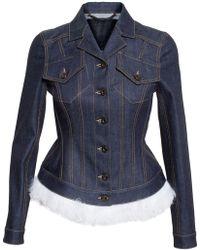 Burberry Prorsum Shearling-Trimmed Denim Jacket blue - Lyst