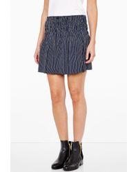 Ganni Navy Striped Flapper Skirt - Lyst