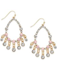 Inc International Concepts Gold-Tone Pink Bead Gypsy Earrings - Lyst
