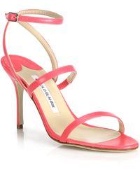 Manolo Blahnik | Didin Wrap-around Leather Sandals | Lyst