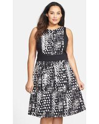 Ellen Tracy Colorblock Fit & Flare Dress - Lyst