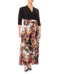 Chetta B - Plus Floral Surplice Gown - Lyst