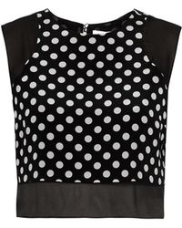 Elizabeth And James 'Enino' Sheer Panel Polka Dot Cropped Top - Lyst