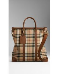 Burberry Large Horseferry Check Leather Tote Bag - Lyst