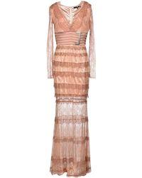 Elisabetta Franchi Long Dress beige - Lyst