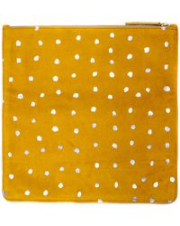 Clare Vivier Foldover Margot Clutch In Gold Suede With Silver Spots - Lyst