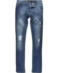 River Island | Mid Wash Antioch Distressed Skinny Jeans | Lyst