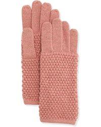 Portolano Pearl-Stitch Metallic Knit Gloves pink - Lyst