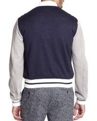 Fendi Leather-Trimmed Jersey Varsity Jacket - Lyst