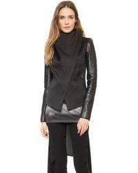 Gareth Pugh Leather Sleeve Jacket Black - Lyst
