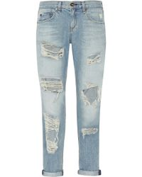 Rag & Bone The Boyfriend Distressed Low-Rise Denim Jeans - Lyst