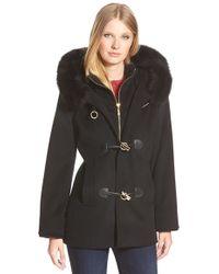 George simonton Couture Genuine Fox Fur Trim Wool Blend Duffle ...