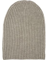 Barneys New York English Rib-Knit Beanie beige - Lyst