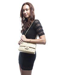 Chanel Preowned Beige Lambskin Medium Double Flap Bag - Lyst