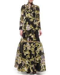 Erdem Half-Button Floral Fil Coupe Flounce Gown floral - Lyst