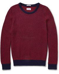 Gant Rugger Two-tone Cotton-blend Jacquard Sweater - Lyst