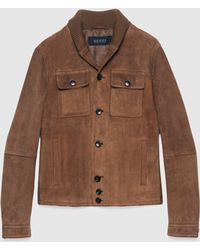 Gucci Suede Jacket With Knitted Details - Brown