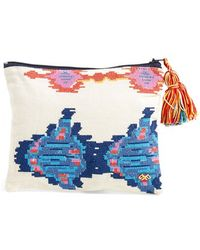 Pilyq - 'sunbeam' Embroidered Zip Top Pouch - Lyst