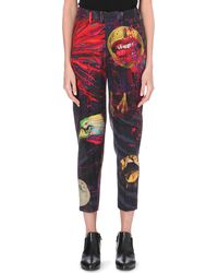 Yohji Yamamoto Graphic Printed Slim Trousers Mocha - Lyst