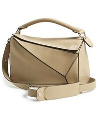 Loewe Women'S 'Small Puzzle' Leather Bag - Grey - Lyst