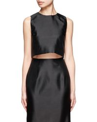 Chictopia - Cropped Sleeveless Silk Top - Lyst