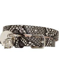 Alexander McQueen Black and White Lizard Skin Double Wrap Bracelet - Lyst