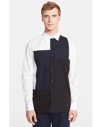 Marni Trim Fit Colorblock Woven Shirt - Lyst