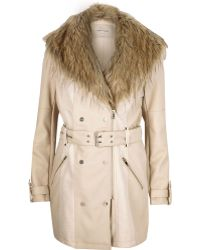 River Island Cream Leather-look Faux Fur Trench Coat - Natural