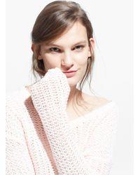 Mango Pink Openwork Sweater - Lyst