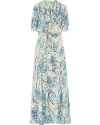 Collette by Collette Dinnigan | Printed Pussybow Silk Maxi Dress | Lyst
