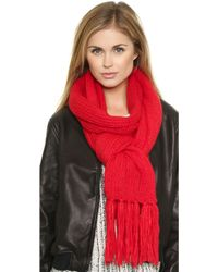 DKNY - Scarf with Fringe - Flame - Lyst