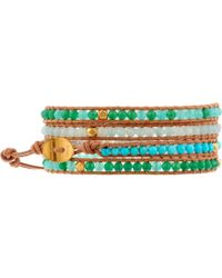 "Chan Luu 32"" Turquoise Mix/Beige Wrap - Lyst"