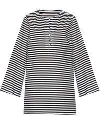 Dolce & Gabbana Striped Cotton-Poplin Cover-Up black - Lyst