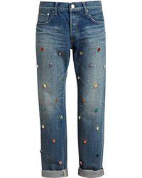 Tu Es Mon Tresor Coloured Crystal Embellished Boyfriend Jeans - Lyst