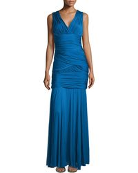 Halston Heritage One-Shoulder Ruched Gown - Lyst