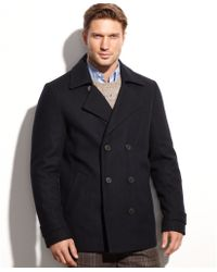 Calvin Klein Wool Blend Double Breasted Pea Coat - Lyst