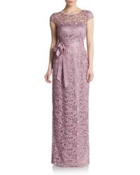 Adrianna Papell Lace Cap-Sleeve Gown - Lyst
