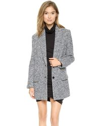 Pam & Gela Wool Check Coat  Blue Check - Lyst
