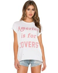 The Laundry Room America Is For Lovers Rolling Tee - White