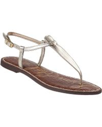 Sam Edelman Gigi Flat Sandal Gold Leather - Lyst
