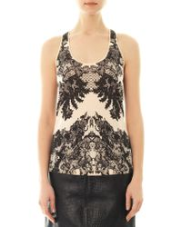 McQ by Alexander McQueen Lace Print Cotton Tank - Lyst