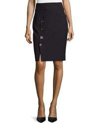Versace Medusa-Button Pencil Skirt - Lyst