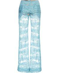 Elie Saab Blue Lace Pant - Lyst