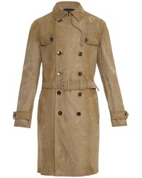 Gucci Suede Trench Coat - Lyst