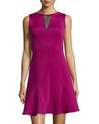 Versace Sleeveless Mesh Back Flounce Hem Dress purple - Lyst