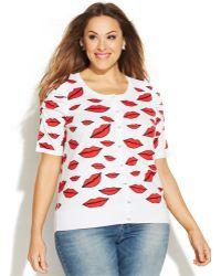 Inc International Concepts Plus Size Short-Sleeve Lip-Print Cardigan - Lyst