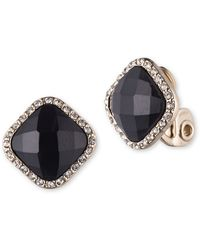 Anne Klein Faceted Jet And Pave Goldtone Earrings - Black