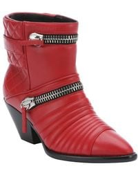 Giuseppe Zanotti Fiamma Red Leather 'Guns 55' Zip Detail Ankle Booties - Lyst