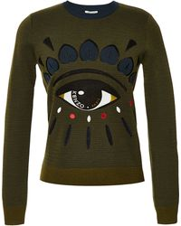Kenzo Embroidered Wool-Blend Sweater - Lyst
